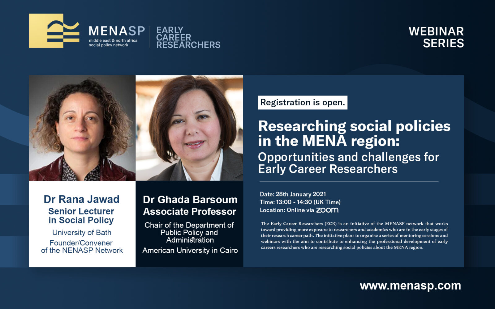 ECR Webinar: Researching social policies in the MENA region: Opportunities and challenges for Early Career Researchers